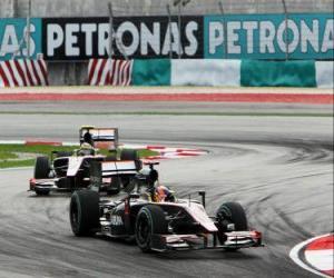 Puzzle Karun Chandhok, Bruno Senna - HRT - Sepang 2010
