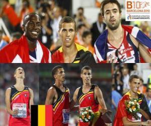 Puzzle Kevin Borlée 400 m champion, Michael Bingham et Martyn Rooney (2e et 3e) de l'athlétisme européen de Barcelone 2010
