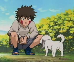 Puzzle Kiba Inuzuka et son chien et son meilleur ami Akamaru font partie de l'équipe 8