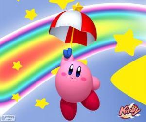 Puzzle Kirby avec un parapluie volant parmi les étoiles et le arc-en-ciel
