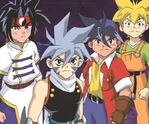 Puzzle L'équipe de Bladebreakers, Tyson Granger, Kai Hiwatari, Ray Kon et Max Tate