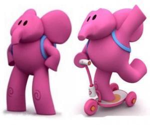 Puzzle L'éléphant sympathique Elly est le plus fort et aide toujours ses amis