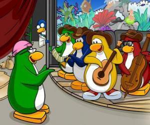 Puzzle La bande de Penguin, Billy G à la batterie et la flûte, Petey K au piano et accordéon, Bob à la basse et la guitare Franky.