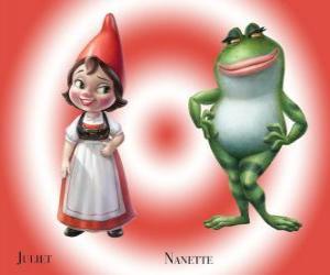 Puzzle La belle Juliette, la fille du chef de nains de jardin Rouge, avec son jardin le meilleur ami de grenouille Nanette
