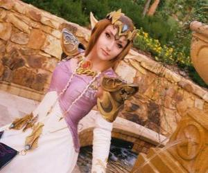 Puzzle La belle princesse Zelda avec une rose à la main
