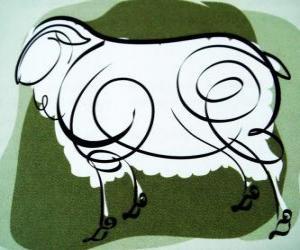 Puzzle La chèvre, le signe de la Chèvre, l'année de la Chèvre dans l'astrologie chinoise. Le huitième signe du calendrier chinois
