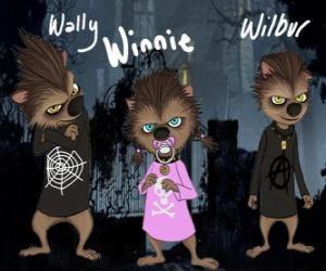 Puzzle La famille de loup-garou. Les chiots : Wally, Winnie et Willbur