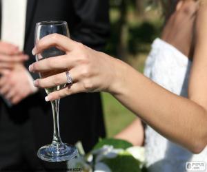 Puzzle La mariée avec verre de champagne