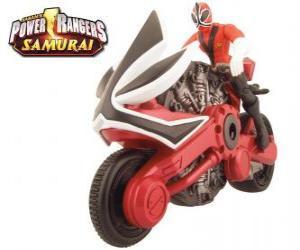 Puzzle La moto rouge Power Ranger Samurai