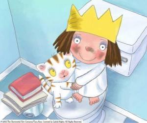 Puzzle La petite princesse avec sa chatte Puss