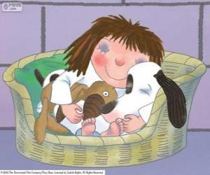 Puzzle La petite princesse dort avec son chien Scruff et son ours en peluche