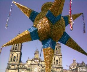 Puzzle La piñata traditionnelle au Mexique à Noël, une étoile à neuf branches, l'étoile de Bethléem