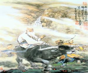 Puzzle Lao Zi or Lao-tseu, philosophee de la Chine ancienne, figure centrale du Taoïsme, monté sur un buffle