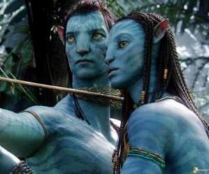 Puzzle Le avatar na'vi  de Jake et Neytiri prêt à lancer une flèche