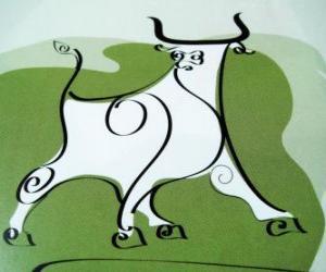 Puzzle Le bœuf, le signe del buffle, l'Année du Bœuf. Le second animal du zodiaque chinois