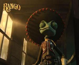Puzzle Le caméléon Rango croit être un héros et auto-proclamé shérif de Dirt