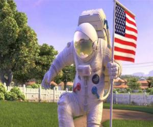 Puzzle Le capitaine Charles Chuck Baker, martelant le drapeau américain à atterrir sur la Planet 51