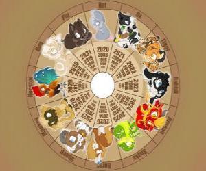 Puzzle Le cercle avec les signes du douze animaux du zodiaque ou horoscope chinois