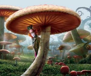 Puzzle Le chapelier fou (Johnny Depp), cachés sous un champignon