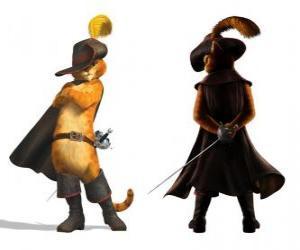 Puzzle Le Chat élégant avec une épée à sa ceinture, le chapeau, le manteau et ses bottes
