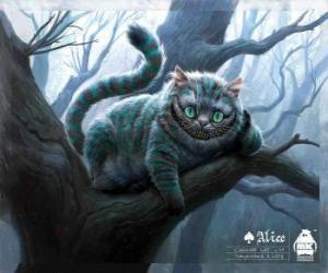 Puzzle Le Chat de Cheshire reposant sur une branche d'arbre
