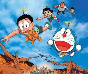 Puzzle Le chat Doraemon avec des amis Nobita, Shizuka, Suneo et Takeshi