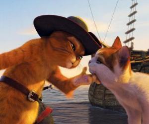 Puzzle Le Chat potté caresser un autre chat à côté de la jetée