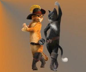 Puzzle Le Chat potté danse avec Kitty le chatte