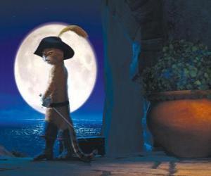 Puzzle Le Chat potté sur une nuit de pleine lune