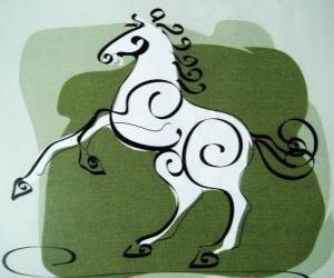 Puzzle Le cheval, le signe du Cheval, Année du Cheval dans l'astrologie chinoise. Le septième animal du zodiaque chinois
