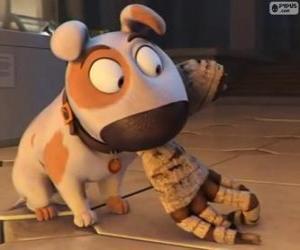 Puzzle Le chien Jeff avec le bras d'une momie dans la bouche