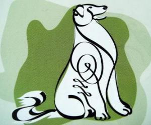 Puzzle Le chien, le signe du Chien, l'année du Chien dans l'astrologie chinoise. L'avant-dernier des douze animaux du zodiaque chinois