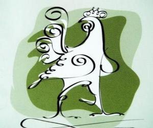 Puzzle Le coq, le signe du Coq, l'Année du Coq en astrologie chinoise. Le dixième animal de l'horoscope chinois