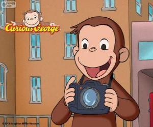 Puzzle Le curieux singe George avec un appareil photo