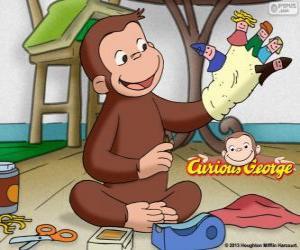 Puzzle Le curieux singe George fait des marionnettes