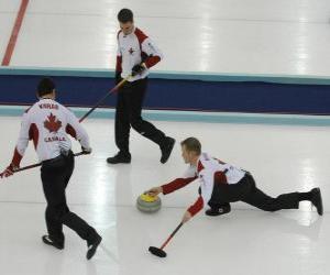 Puzzle Le curling est un sport de précision semblable à des bols ou des boules en anglais, réalisé dans une patinoire.