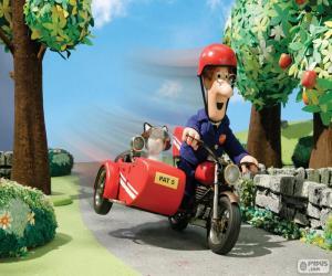 Puzzle Le facteur Pat e avec sa motocyclette