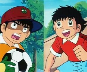 Puzzle Le footballeur Olive et son amie Genzo Wakabayashi qui joue comme gardien de but