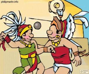 Puzzle Le jeu de balle était un rituel maya, les joueurs luttent pour passer le ballon à travers l'anneau de pierre