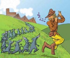 Puzzle Le Joueur de flûte de Hamelin jouant de la flûte suivie par les rats