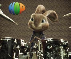 Puzzle Le lapin Hop avec les baguettes à faire de la musique avec le batterie