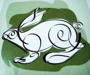 Puzzle Le lapin, le signe du lapin, l'Année du Lapin. Le quatrième animal dans l'horoscope chinois