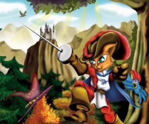 Puzzle Le Maître chat ou le Chat botté avec son épée haute