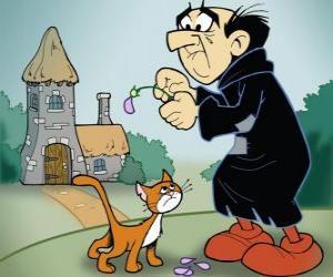 Puzzle Le méchant sorcier Gargamel et son chat Azraël, les ennemis des Schtroumpfs