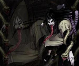 Puzzle Le ninja Orochimaru avec des serpents dans le cadre de son corps après diverses modifications