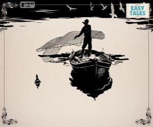 Puzzle Le pêcheur avec son vieux bateau de pêche