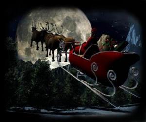 Puzzle Le Père Noël dans son traîneau magique tiré par des rennes volants sur le nuit de Noël