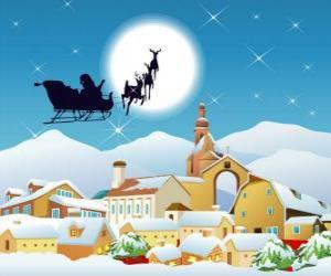 Puzzle Le Père Noël dans son traîneau tiré par des rennes volants magiques