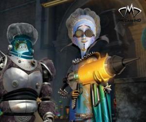 Puzzle Le personnage principal, le mal alien Megamind avec Nounou, le poisson savant