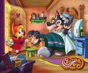 Puzzle Le Petit Chaperon rouge arrive à la maison de la grand-mère